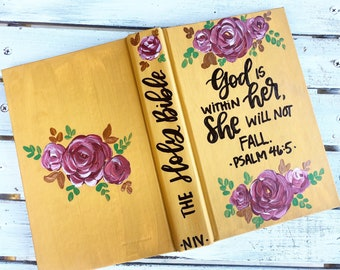 Painted bible | God is within her | psalm 46:5 | NIV pew bible