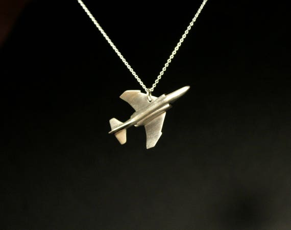 Airplane jewelry, Phantom F4 pendant, fighter pilots jewelry, father's day gift, sterling silver hand carved, air force jewelry