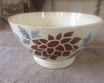 Vintage French café au lait Bowl (Digoin) with beautiful botanical print