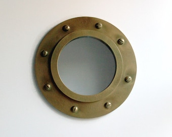 Porthole Mirror, Wall Mirror, Handmade Mirror, Reclaimed, Round Mirror, Nautical Decor, Marine Decor, Decorative Wall Mirror, Brass Mirror