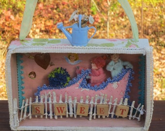 Original Mixed Media Shadow Box by Stacey Bear aka Momentos signed and dated OOAK
