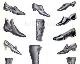 Vintage French Print - SHOES and boots- Black and White Magasins De Nouveautes Plate