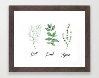Watercolor Herbs, watercolor print, Kitchen wall art,  printable art, botanical print, gift for her, Kitchen herbs, kitchen decor