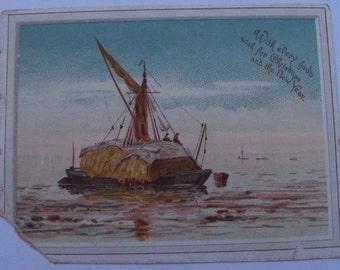 Ephemera Card Christmas Watermen Hay Barge Waterlife Authentic Life Art Free Shipping