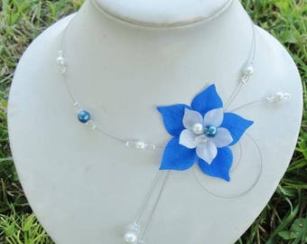 Wedding necklace, Bridal necklace - silk flower - white or ivory - blue - glass beads - set wedding - nickel free