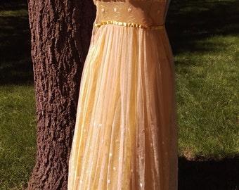 SALE Art Deco Couture Gold Satin & Cream Crochet Lace Vintage Wedding Dress Size XXS