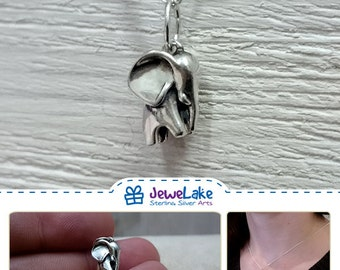 elephant jewelry elephant charm elephant gift elephant necklace tiny elephant pendant lucky silver elephant little petite elephant