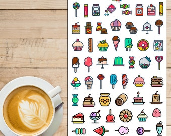Candy Sweets Dessert Icons Planner Stickers   Cakes   Doughnuts Donuts   Ice-Cream   Sweets (S-113)