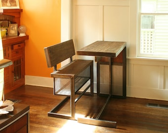 nook air table and fliptop bench with storage - from reclaimed wood and recycled content steel - modern industrial urban space - table only