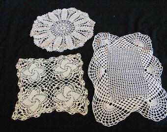 Doily Lot of 3 Vintage Handmade White Crocheted Doily Table Runner Place Mat (#51B)