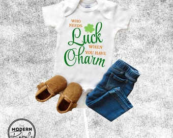St. Patrick's Day Onesie®, Baby Onesie®, Baby Shower Gift, St. Paddy's Day Onesie®, Who needs luck when you have charm, Baby boy, Baby girl