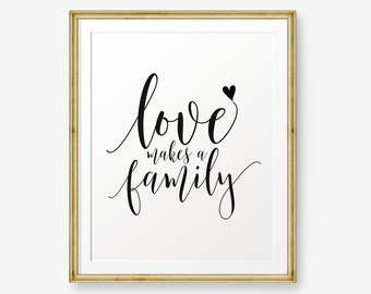 Love Makes A Family, House Warming Gift, Inspirational Printable, Family  Quote, Apartment Wall Art, Children Wall Art, Nursery Decor