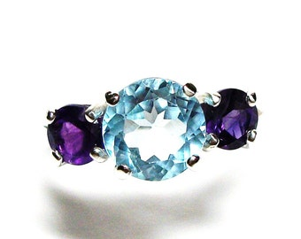 "Sky blue topaz, sky blue topaz ring, 3 stone ring, blue purple, amethyst, anniversary, s 6 1/2   ""Star Gazer"""