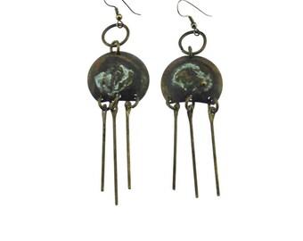 Large Brass Dangle Earrings, Brass Circle Earrings, Large Brass Earrings