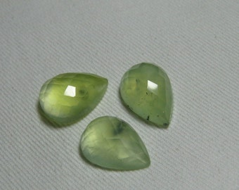 PREHNITE - 13x18 mm - Checker Cut Pear Shape Cabochon Natural Yellow Green Mix Color - 3pcs weight - 36.00 crt