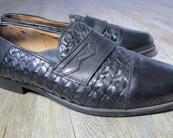 ITALIAN ALL LEATHER Vintage 80s Basket Weave Penny Loafers - Slip Ons Au. 9 - 10  US9 - 10 - UK7 - 8 - Euro 40 - 41