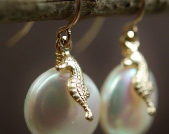 Earrings, Seahorse, Coin Pearls, 14K Gold Fill, Freshwater Pearls, Wire Wrapped on French Ear Wires, hamptonjewels