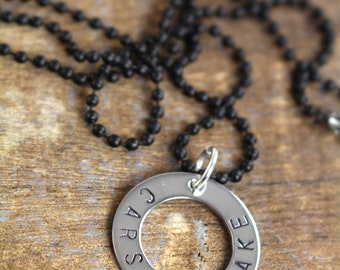 Gifts for Men Dads , Fathers Day Gift , Name Necklace Washer Personalized Jewelry for Him