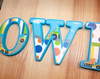 WOODEN WALL LETTERS Bright Construction Trucks Boys Bedroom Baby Nursery Wall Name - Price Per Letter