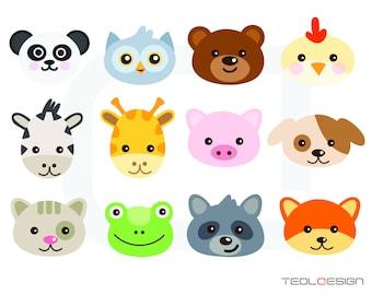 EPS SVG PNG Animal Faces Clipart Clip Art Panda Owl Bear Hen Cow Giraffe Pig Dog Cat Frog Raccoon Fox Digital Personal Use