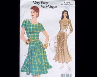 Vintage 90's Vogue Dress Pattern- Vogue 8286- Semi-Fitted Bodice, Flared Skirt Dress, 90's Retro Style Dress -Size 8-10-12   UNCUT