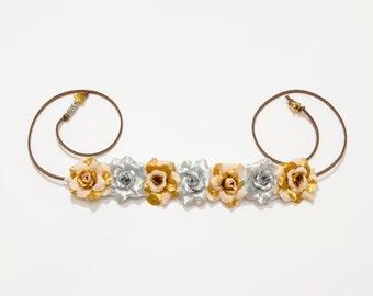 Gold Droid Flower Crown, Flower Headband, C3PO Costume, Cosplay Crown, Cosplay Costume, Fandom Merch, Rave Headband, Rave Costume