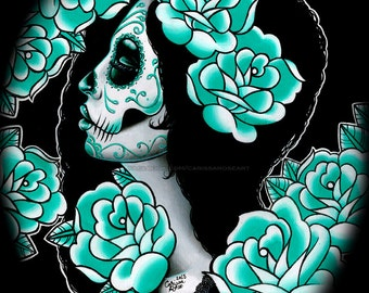 CLEARANCE HALF OFF - 5x7, 8x10, or 11x14 Signed Art Print - Day of the Dead Sugar Skull Girl Portrait Blue Tattoo Flash Roses - Suffer