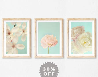 Floral Print Set, Set of 3 Prints, Gallery Wall Art, Flower Photography Prints, Shabby Chic Decor, Gift for Mom, Vintage Style