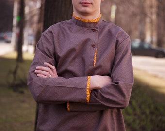 Russian shirt men, Tolstoy Kosovorotka costume, Russian clothing Slavic shirt, Russian costume traditional hippie clothes folk peasant shirt