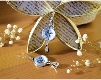 Earrings antique silver compass rose