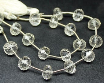 2 Strand Natural White Quartz Faceted Rondelle Gemstone Loose Beads 5 Inches 12mm 9mm - Jewelry Supplies