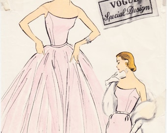"""ORIGINAL Rare Vintage Sewing Pattern 1950's Ladies Dress Vogue S-4787 Size 32"""" Bust - Free Pattern Grading E-book Included"""