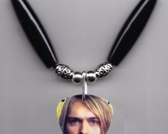 Nirvana Kurt Cobain Photo Guitar Pick Necklace