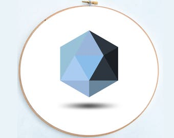 Blue hexagon (cross stitch pattern)