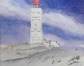 A sunny Mont Ventoux sunny original watercolor painting watercolor original original aquarel acuarela wasserfarbe Provence le Midi