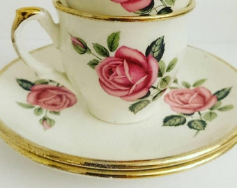 Vintage Grindley 1950s pink rose mini china espresso cup & saucer gold gilt trim birthday gift coffee lover