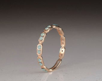 Eternity ring -  Green stone ring - thin band - dainty gold ring - stacking ring