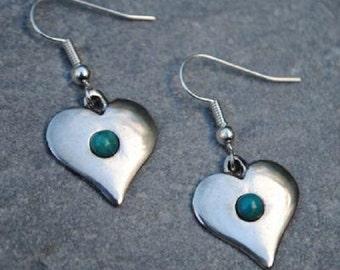 Gemstone Heart Pewter Earrings