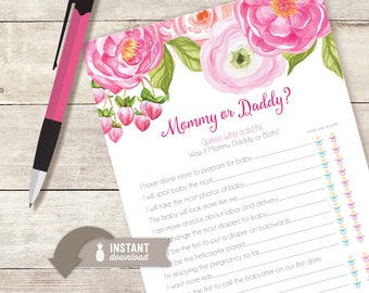 Mommy or Daddy? Floral Baby Shower Game