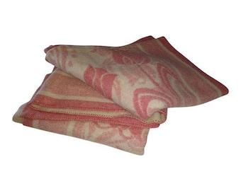 SALE Vintage Orr Health Wool Blanket Pink Tulip Wool Blanket