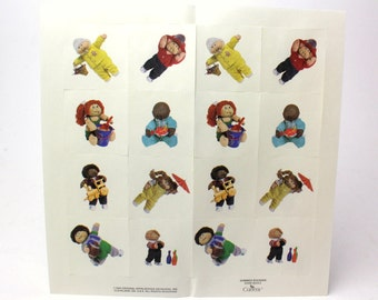 Vintage Cabbage Patch Kids Gummed Sticker Sheet 1984 -  Lick & Stick Stickers Square Seals 80s Doll Collectibles Current Inc USA