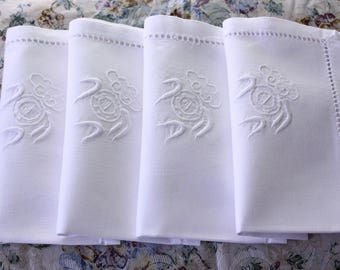 Vintage Embroidered and Hemstitched Dinner Napkins in White Set of 12