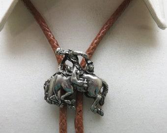 1960s Bucking Horse Bronc Rider Bolo Tie