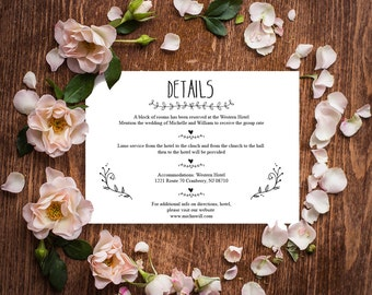 Wedding Details Card Template, Rustic Wedding Details Card, Editable Text, Printable File, Instant Download, PDF Template #BRS014