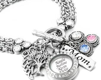 Personalized Birthstone Bracelet, Mother's Day Bracelet, Mother's Jewelry, Mom Birthday Gift, Mom Jewelry