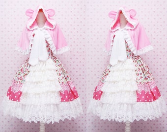 Pink Flower Sweet Lolita Dress - Rococo Retro Vintage Inspired - Ruffle Tiered Tea Party Dress - Kawaii Clothing