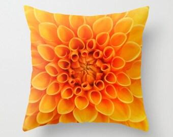 Orange Dahlia Flower Pillow Cover Natural History Sweet Garden Gift Flower Print Orange Flower Botany