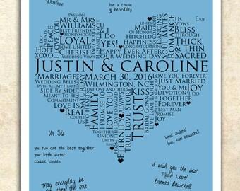 X Signature Guest Book Wedding Heart Guestbook Personalized Wedding Word Art Wedding Guestbook