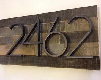 Reclaimed wood Address Plaque - custom, personalized, house numbers, address sign, rustic, cottage, housewarming gift, modern, cabin, wooden