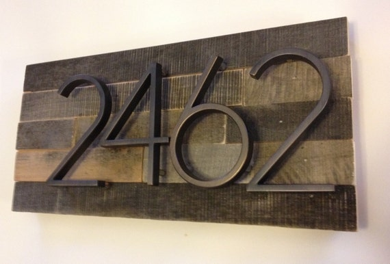 Reclaimed wood address plaque custom personalized house for Modern house numbers canada